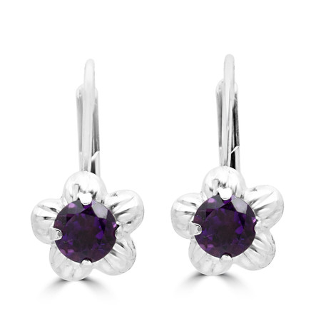Round Cut Purple Amethyst Dangle Drop Earrings 14K White Gold  - #400-B