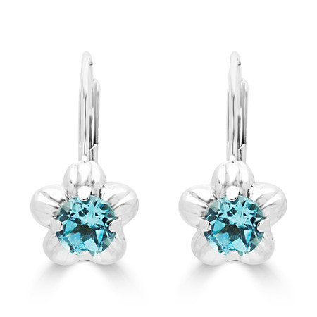 Round Cut Blue Topaz Dangle Drop Earrings 14K White Gold  - #400-C