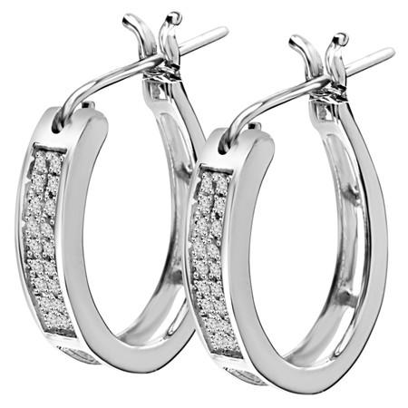 Round Cut Diamond Hoop Earrings 14K White Gold  - #EAOX0887