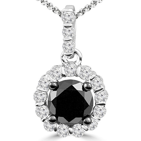 Round Cut Black Diamond Pendant 10K White Gold  With Chain - #CDPEOH6916