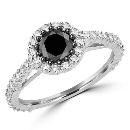 Round Cut Black Diamond Engagement Ring 10K White Gold - #CDFROC8613