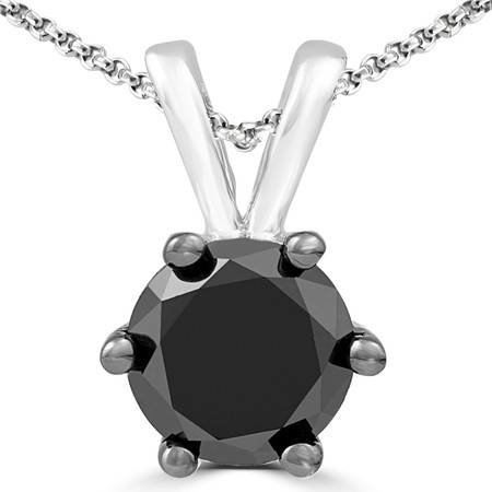 Round Cut Black Diamond Pendant 10K White Gold  With Chain - #CDPETQ9904