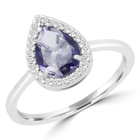 Pear Purple Iolite Cocktail Ring 14K White Gold  - #RDR7028