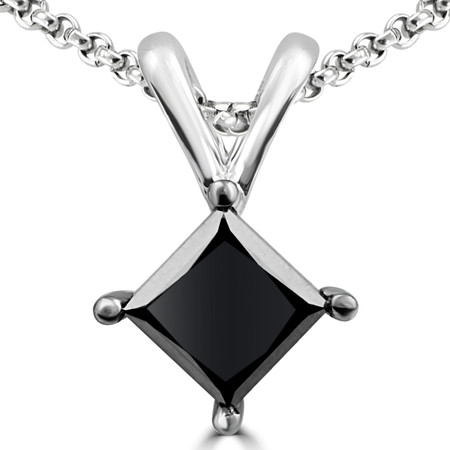 Princess Cut Black Diamond Pendant 10K White Gold  With Chain - #CDPEOH4649