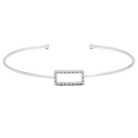 Round Cut Diamond Bracelet 14K White Gold  - #HDBN1172