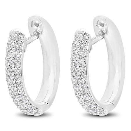 Round Cut Diamond Hoop Earrings 14K White Gold  - #HDE3402