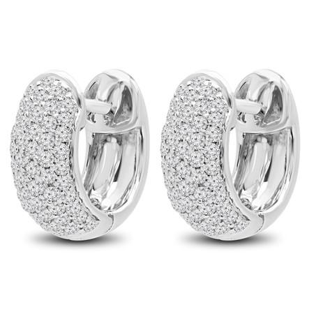 Round Cut Diamond Huggie Earrings 14K White Gold  - #HDE3445