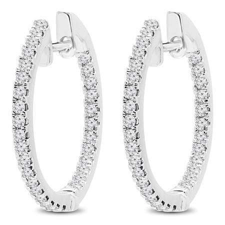 Round Cut Diamond Hoop Earrings 14K White Gold  - #HDE3592