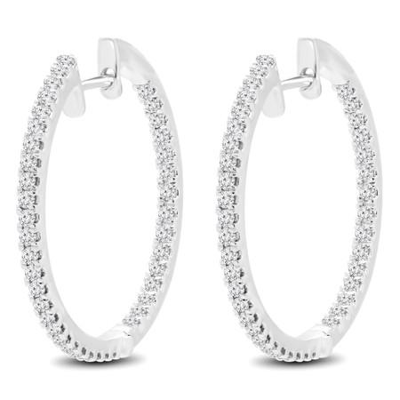 Round Cut Diamond Hoop Earrings 14K White Gold  - #HDE3593