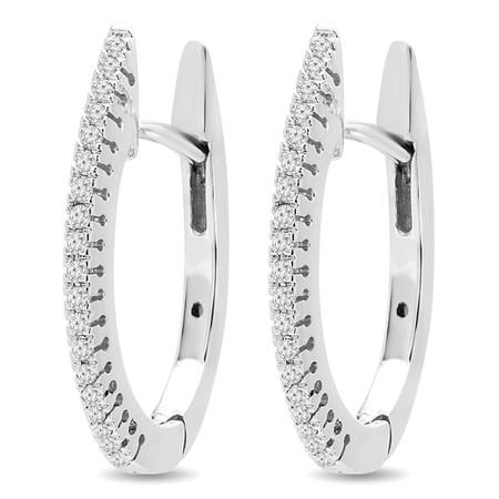 Round Cut Diamond Huggie Earrings 14K White Gold  - #HDE4461