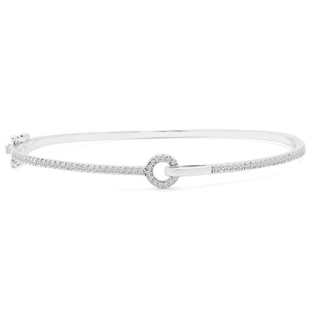 Round Cut Diamond Bracelet 14K White Gold  - #RDBN1141