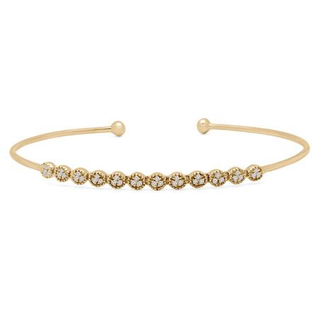Round Cut Diamond Bracelet 14K Yellow Gold  - #RDBN1168