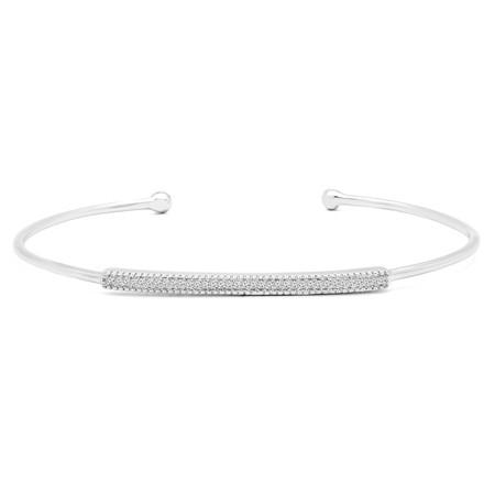 Round Cut Diamond Bracelet 14K White Gold  - #RDBN1180