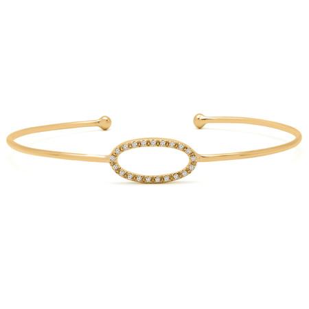 Round Cut Diamond Bracelet 14K Yellow Gold  - #RDBN1189