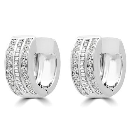 Round Cut Diamond Huggie Earrings 14K White Gold  - #RDE2521