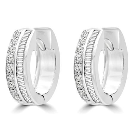 Round Cut Diamond Huggie Earrings 14K White Gold  - #RDE3261