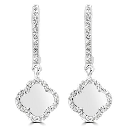 Round Cut Diamond Dangle Drop Earrings 14K White Gold  - #RDE4014