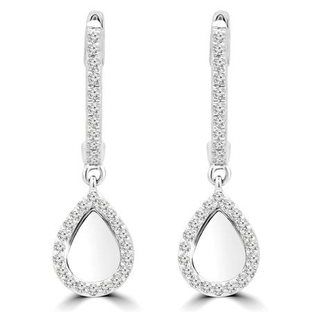 Round Cut Diamond Dangle Drop Earrings 14K White Gold  - #RDE4017