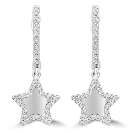 Round Cut Diamond Dangle Drop Earrings 14K White Gold  - #RDE4070