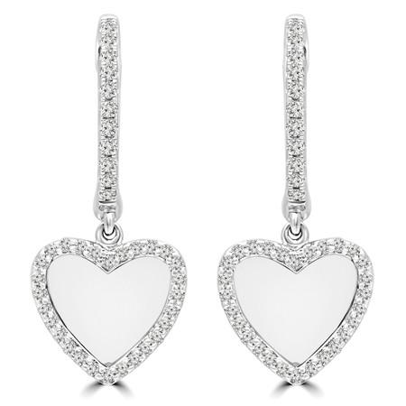 Round Cut Diamond Dangle Drop Earrings 14K White Gold  - #RDE4073