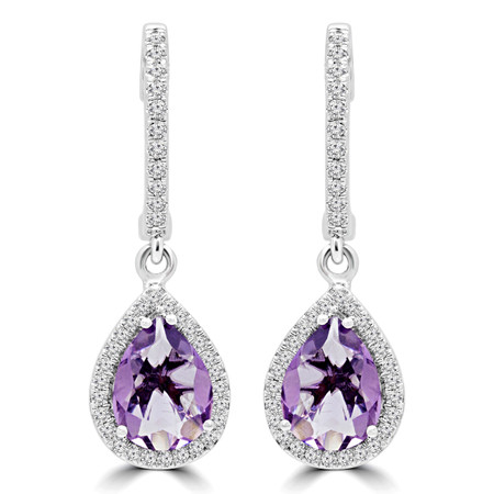 Pear Purple Amethyst Dangle Drop Earrings 14K White Gold  - #RDE4177