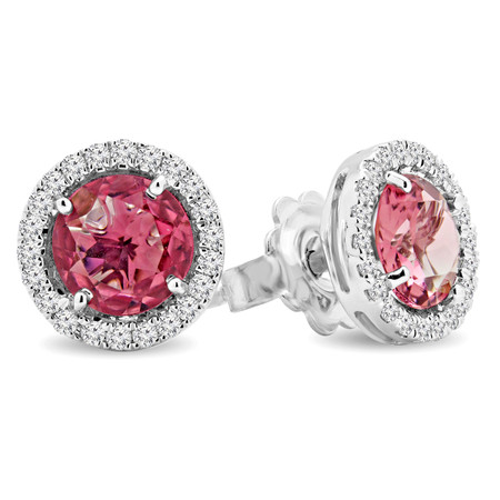Round Cut Pink Tourmaline Stud Earrings 14K White Gold  - #RDE4268