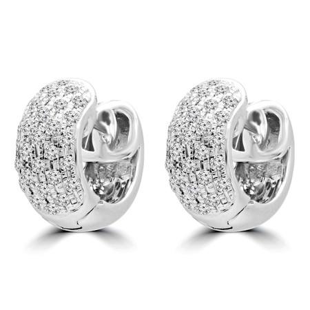Round Cut Diamond Huggie Earrings 14K White Gold  - #RDE4617