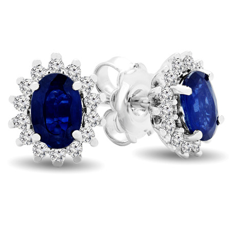 Oval Blue Kyanite Stud Earrings 14K White Gold  - #RDE4949