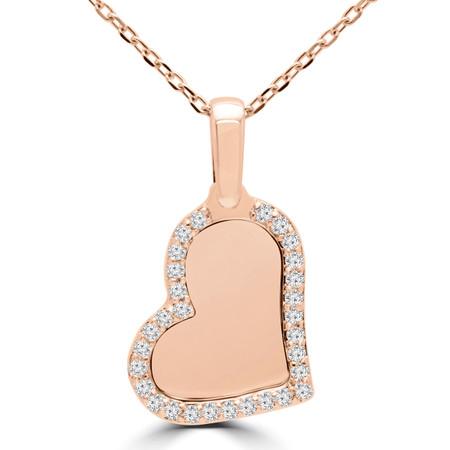 Round Cut Diamond Pendant 14K Rose Gold  With Chain - #RDP2906