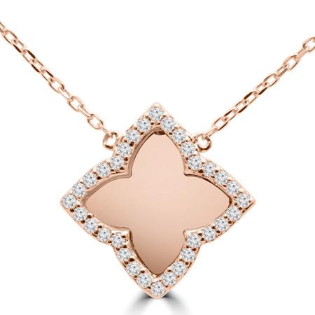 Round Cut Diamond Pendant 14K Rose Gold  With Chain - #RDP2910