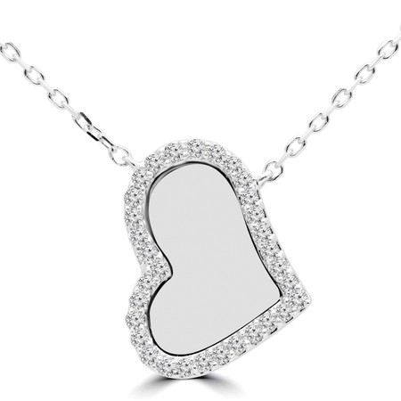 Round Cut Diamond Pendant 14K White Gold  With Chain - #RDP2975