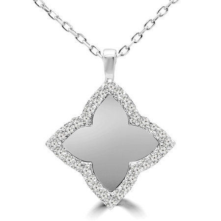 Round Cut Diamond Pendant 14K White Gold  With Chain - #RDP2976