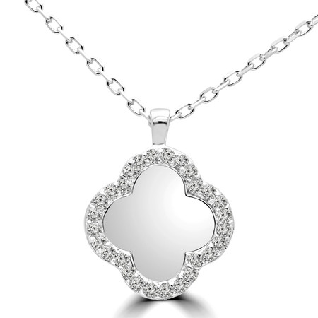 Round Cut Diamond Pendant 14K White Gold  With Chain - #RDP3017