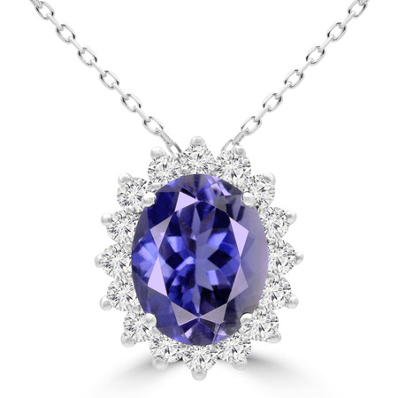 Oval Purple Iolite Pendant 14K White Gold  With Chain - #RDP3379