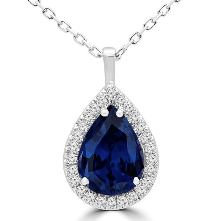 Pear Blue Sapphire Pendant 14K White Gold  With Chain - #RDP3397