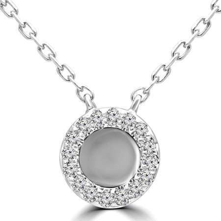 Round Cut Diamond Pendant 14K White Gold  With Chain - #RDP3405