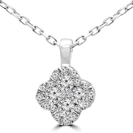 Round Cut Diamond Pendant 14K White Gold  With Chain - #RDP3530