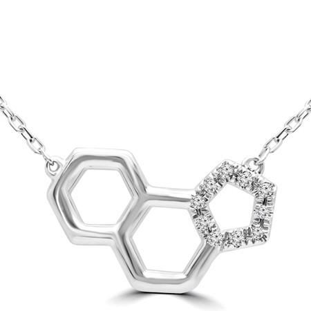 Round Cut Diamond Pendant 14K White Gold  With Chain - #RDP4690
