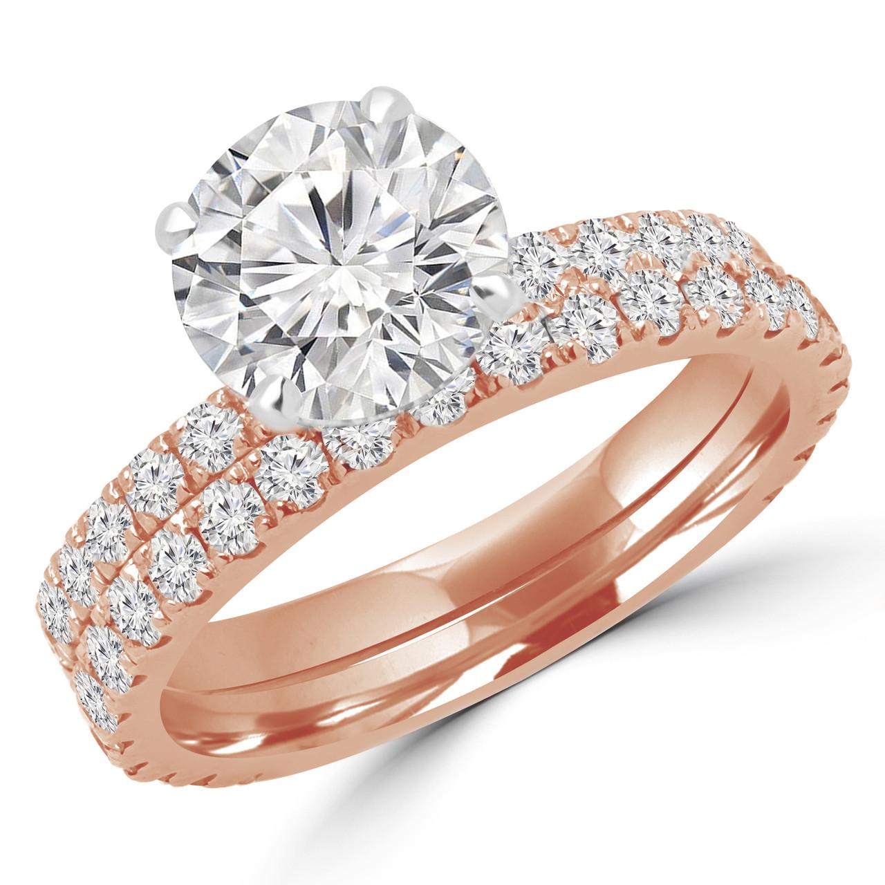 Round Cut Diamond Multi Stone 4 Prong Engagement Ring And Wedding