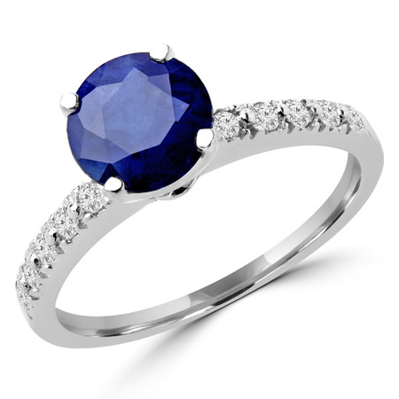 Round Cut Blue Sapphire Gemstone Multi-Stone 4-Prong Engagement Ring with Round Diamond Accents in White Gold - #HR10362-SA-W