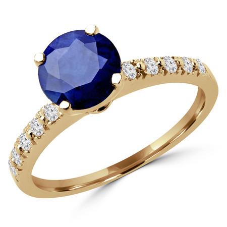 Round Cut Blue Sapphire Gemstone Multi-Stone 4-Prong Engagement Ring with Round Diamond Accents in Yellow Gold - #HR10362-SA-Y