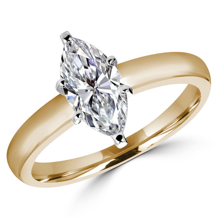 Marquise Cut Diamond Solitaire 6-Prong Engagement Ring in Yellow Gold - #1504L-Y-MQ