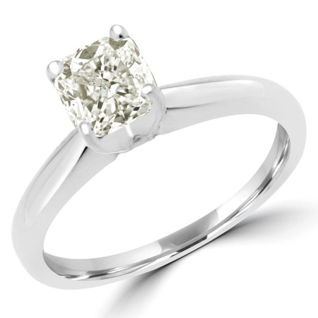 Radiant Cut Diamond Solitaire 4-Prong Engagement Ring in White Gold - #1625L-RAD-W