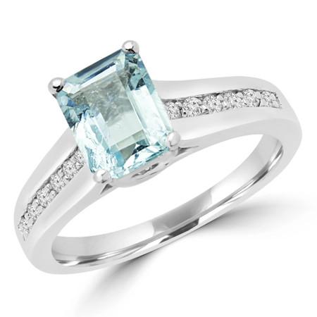 Emerald Cut Blue Aquamarine Multi-Stone 4-Prong Engagement Trellis Set Ring with Round Diamond Accents in White Gold - #2260L-EM-BLUE-AQUAMARINE-W