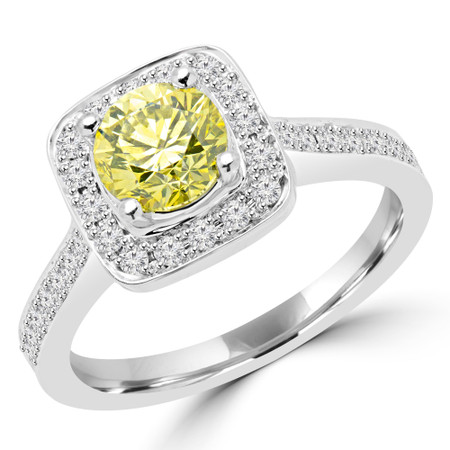 Round Cut Yellow Diamond Vintage Multi-Stone Halo 4-Prong Engagement Ring with Round Diamond Accents in White Gold - #2566L-YEL-W