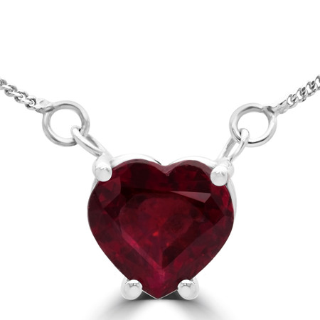 Heart Cut Red Ruby Solitaire 4-Prong Pendant Necklace with Chain in White Gold - #A0579-HEART-RED-RUBY-W