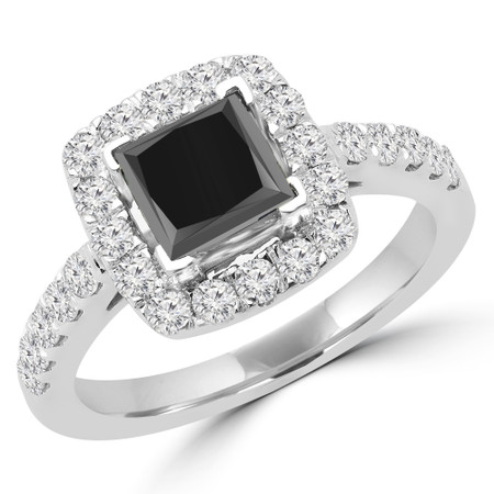 Princess Cut Black Diamond Multi-Stone Halo 4-Prong Engagement Ring with Round Diamond Accents in White Gold - #ABBEY-BLK-W