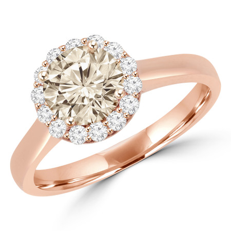 Round Cut Champagne Diamond Multi-Stone 4-Prong Halo Engagement Ring with Round Diamond Accents in Rose Gold - #ALESSANDRA-CHM-R