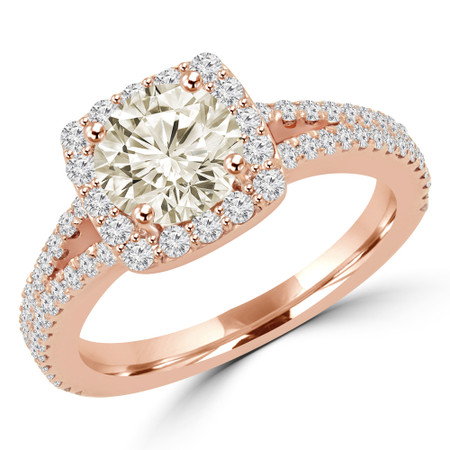 Round Cut Champagne Diamond Multi-Stone 4-Prong Split-Shank Halo Engagement Ring with Round Diamond Accents in Rose Gold - #ANA-CHM-R