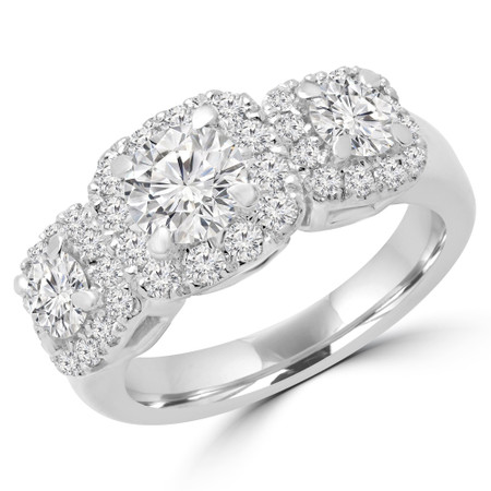 Round Cut Diamond Three-Stone 4-Prong Triple Halo Engagement Ring with Round Diamond Accents in White Gold - #ANGIE-W